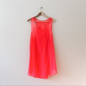 OP neon red pink sheer swim coverup dress small